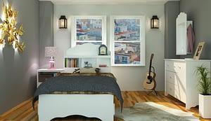 bedroom and mattress